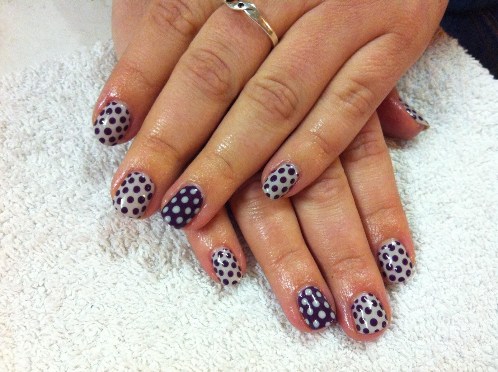 Brush up and polish up cnd shellac nail art purple polka dot cnd shellac nail art purple polka dot prinsesfo Image collections