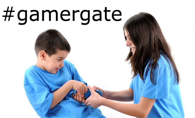 "Image of a girl trying to take a video game controller from a boy, captioned with ""#gamergate"""