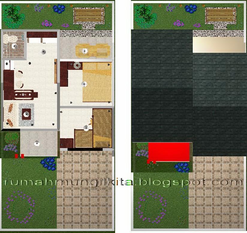 desain rumah tipe 30 tanah 72 1 lantai 2 kamar tidur 1