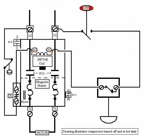 Wiring Diagram Compressor Motor : Air compressor motor starter wiring diagram elec eng world