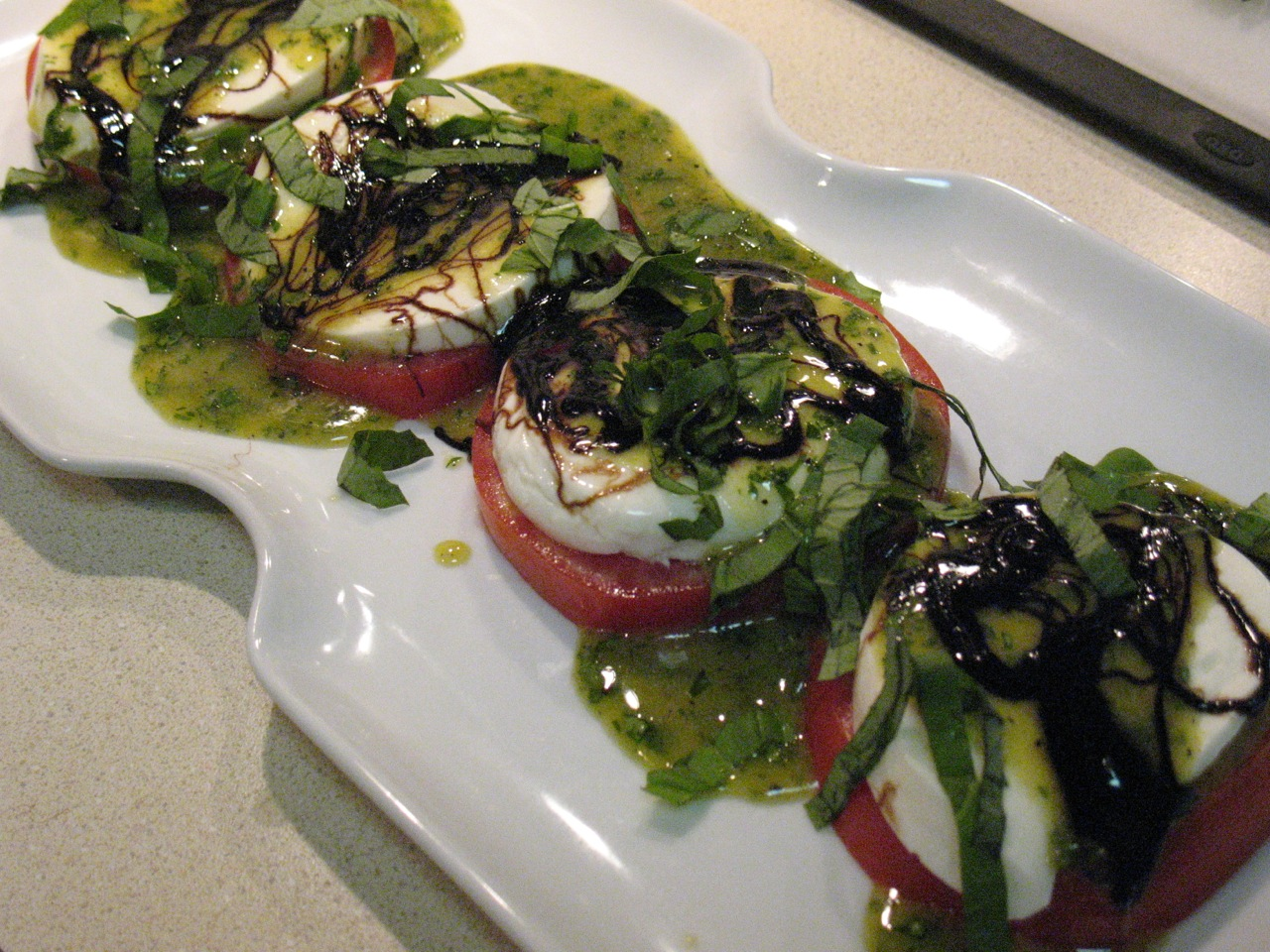 Cook In / Dine Out: Tomato Salad with Honey-Mustard Basil Dressing