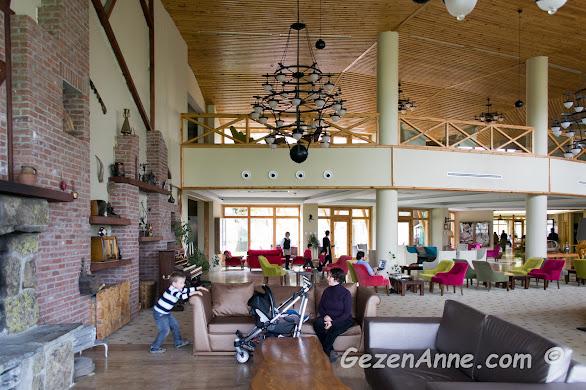 Gazelle Resort Otel'in lobisinde şömine yanında otururken, Bolu