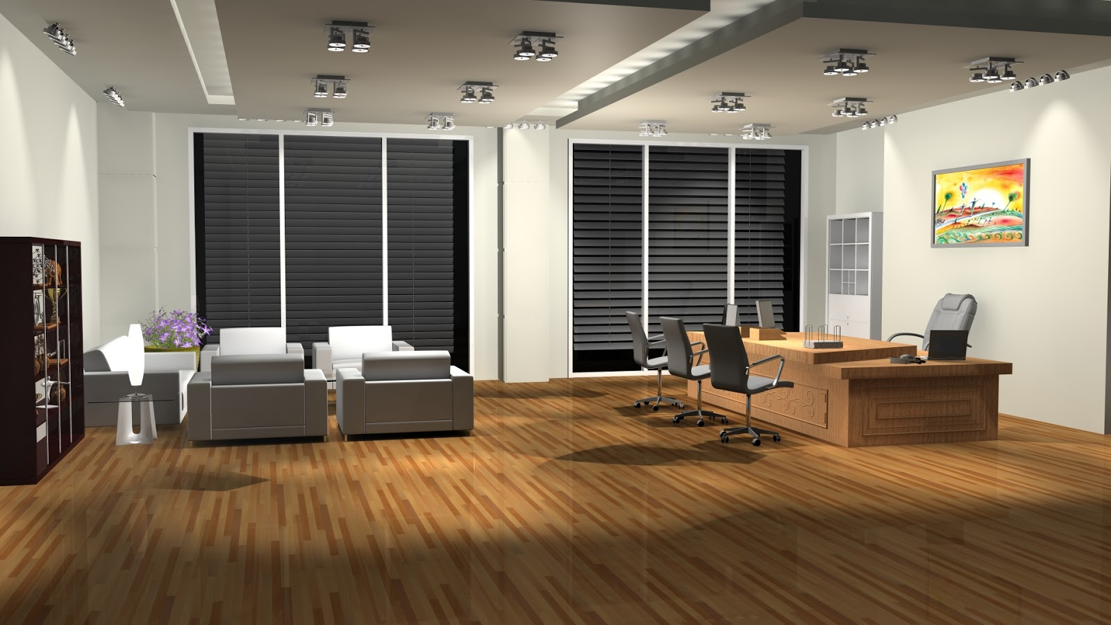 Sajid designs office room 3d interior design 3ds max for Pictures of interior designs