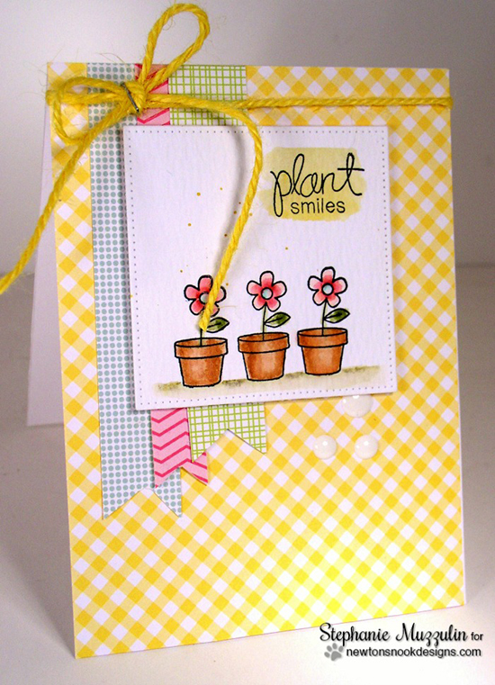 Plant Smiles Flower card by Stephanie Muzzulin | Garden Whimsy stamp set by Newton's Nook Designs