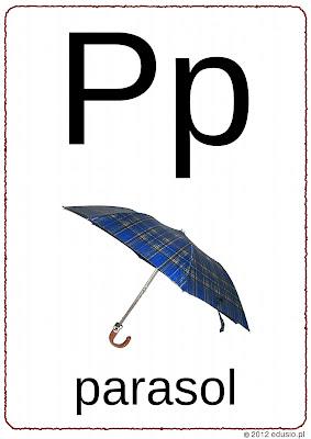 litery do wydrukowania-p-parasol
