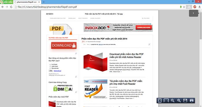 Đọc file PDF bằng trình duyệt Cốc Cốc