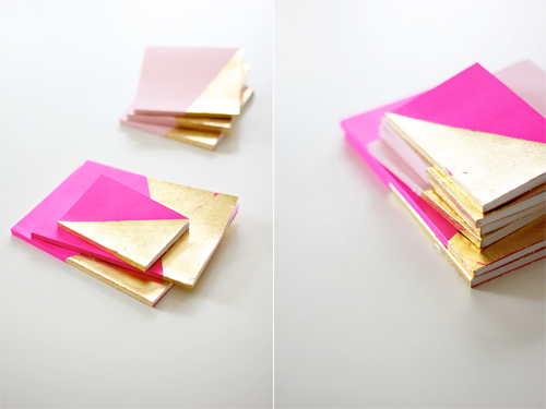 notepad7 Christmas Gift Idea from Eat Sleep Cuddle DIY Neon Gold Leaf Covered Notebooks