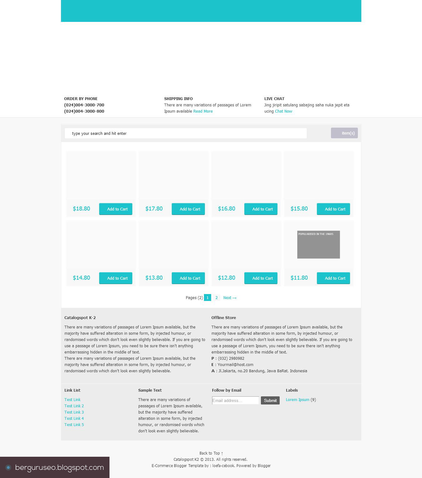 Template Blog Toko Online Catalogspot K2 E-Commerce