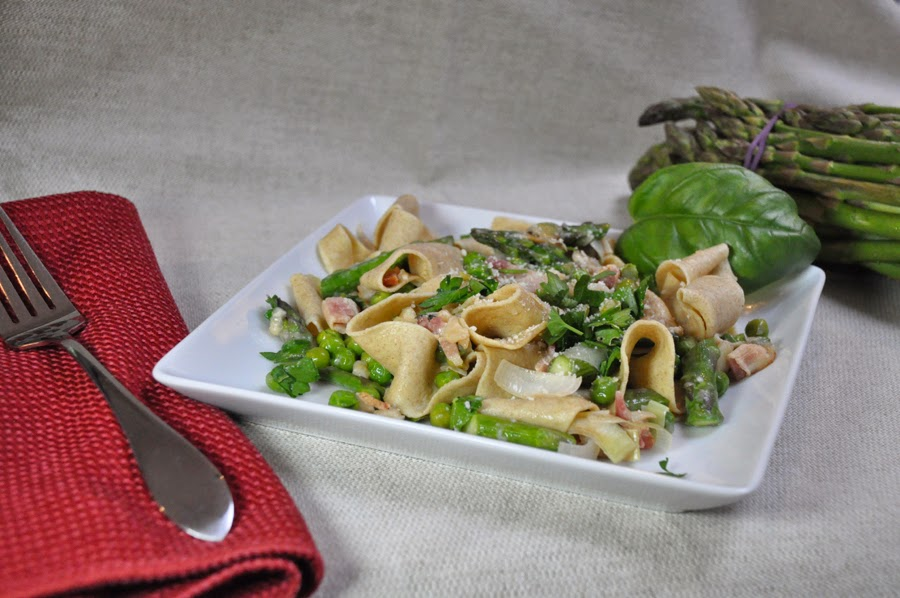 Whole Wheat Pappardelle with Spring Vegetables