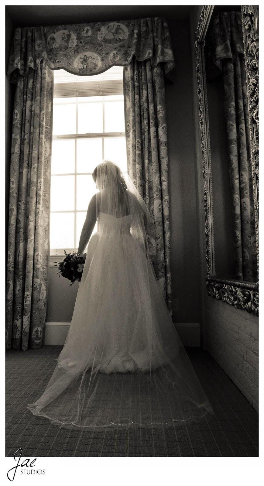 Jonathan and Julie, Bird cage, West Manor Estate, Wedding, Lynchburg, Virginia, Jae Studios, wedding dress, black and white, window, flowers, bouquet, mirror, veil