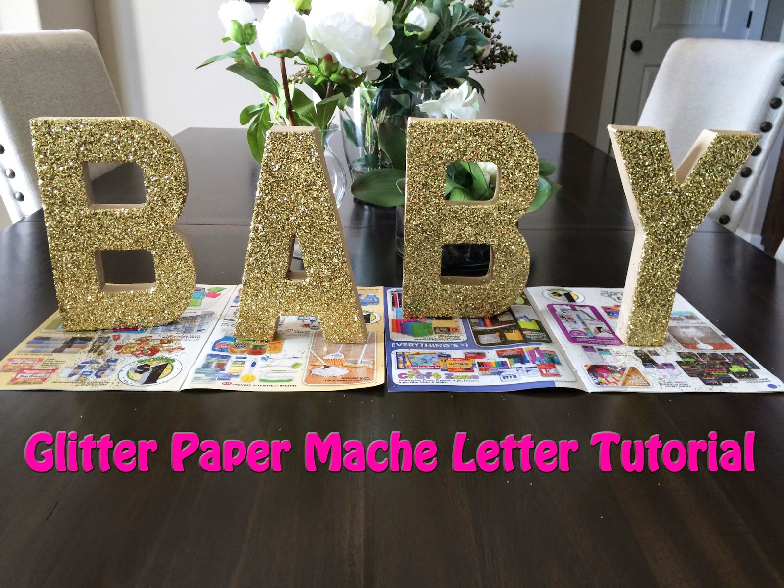 Brooke jane gold glitter paper mache letter tutorial gold glitter paper mache letters they are such statement pieces and really help your party decor to pop they are super easy to make so theres no reviewsmspy
