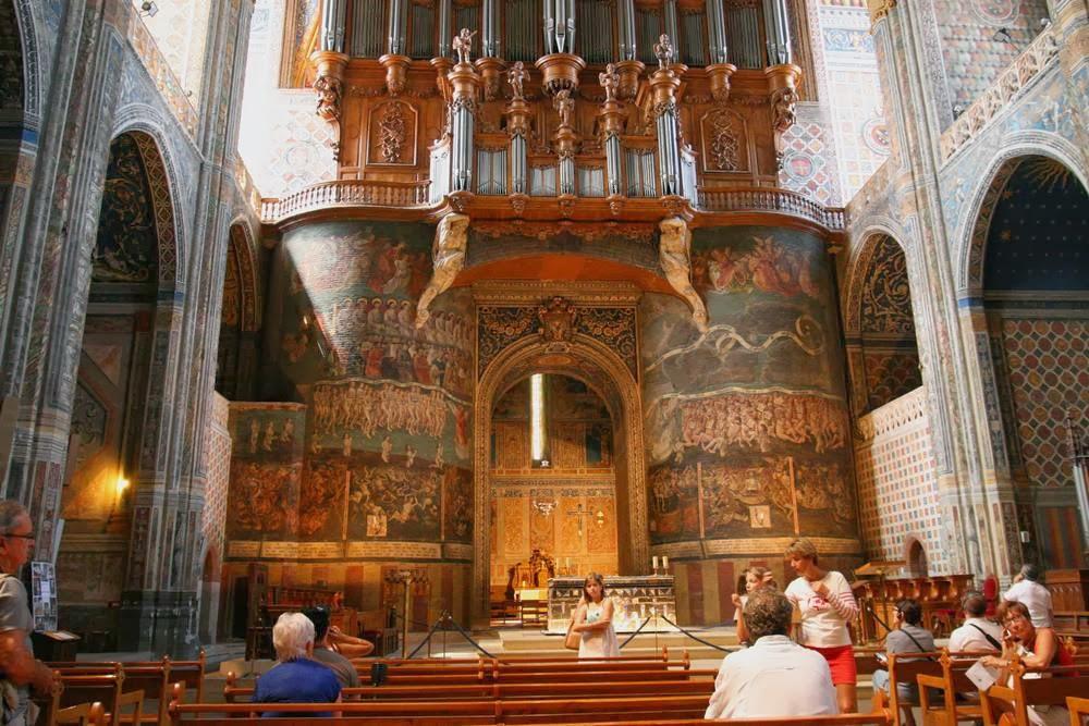 Fresco van het laatste oordeel in de kerk van Albi in de Tarn, Frankrijk