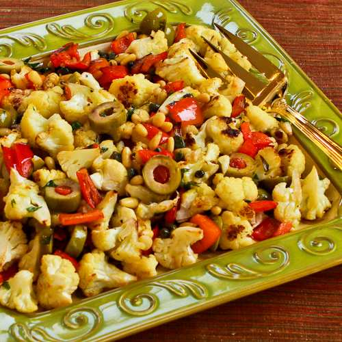 Roasted Cauliflower with Red Bell Pepper, Green Olives, and Pine Nuts ...
