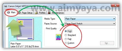 Gambar: Contoh cara mengatur properties / setting printer Canon Inkjet MP510 untuk kualitas cetak yang lebih baik