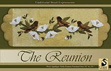 "The Reunion Wool Applique Runner 10"" x 29"""