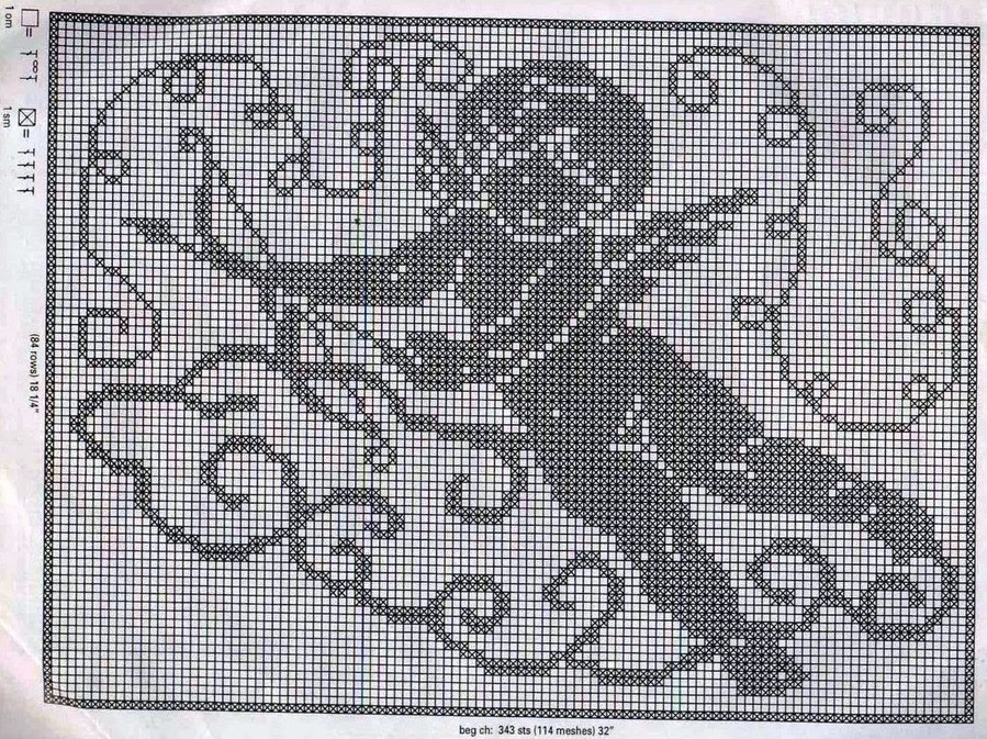 Дана схема филейного вязания