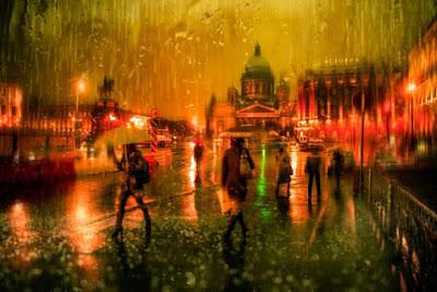 Eduard Ed Gordeev fotografia como pinturas de aquarela impressionista de cidades na chuva melancolia luzes noite