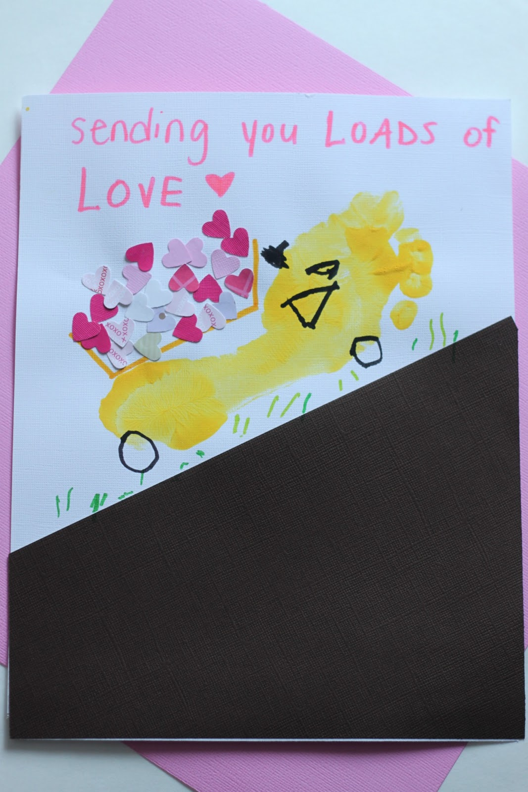 This dump truck valentine is the perfect gender-neutral footprint craft