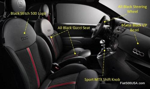 Fiat 500 by Gucci Interno Notte interior