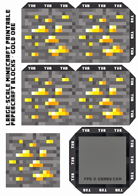 Large Scale Minecraft printable gold ore block