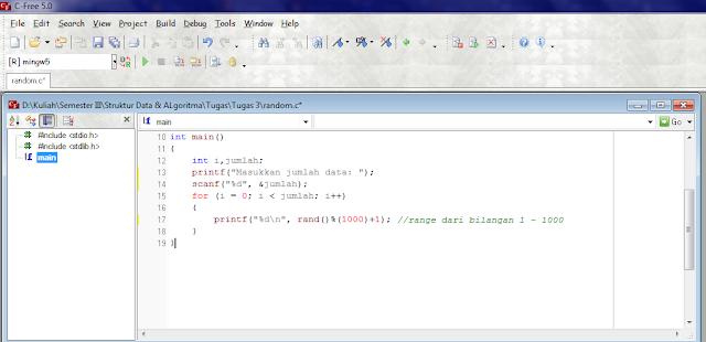 Deskripsi Penelusuran Fungsi rand() Untuk Random Data Menggunakan C, cara merandom bilangan menggunakan c