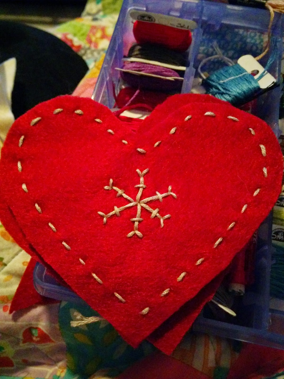 embroidered felt heart ornament