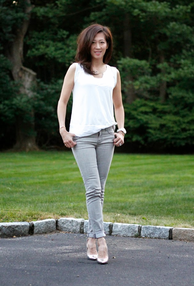 Full Outfit- H&M top, JBrand Jeans, Jimmy Choo shoes, Movado watch