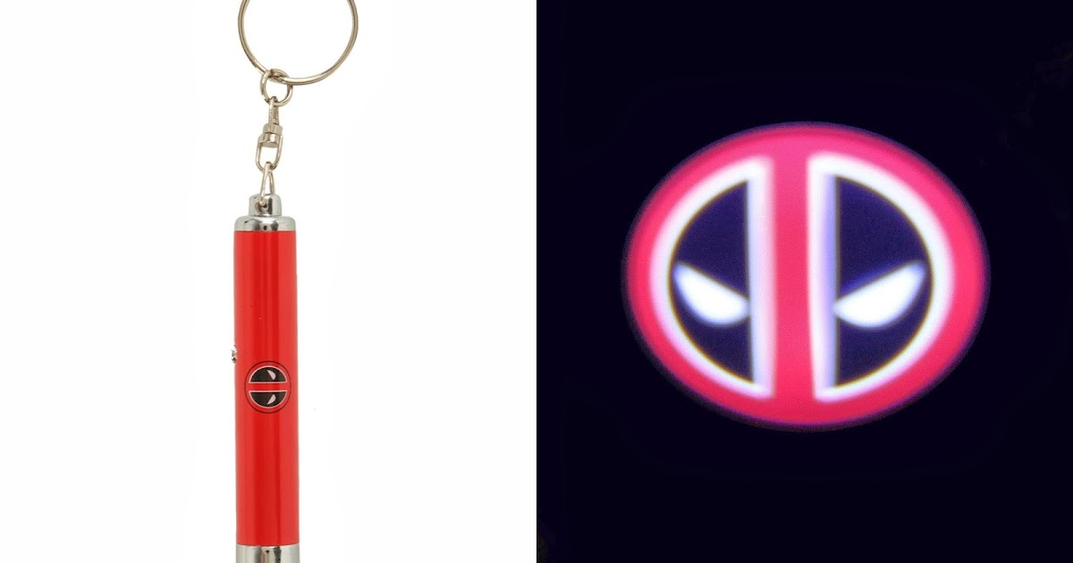 deadpool logo projection flashlight key chain deadpool bugle. Black Bedroom Furniture Sets. Home Design Ideas