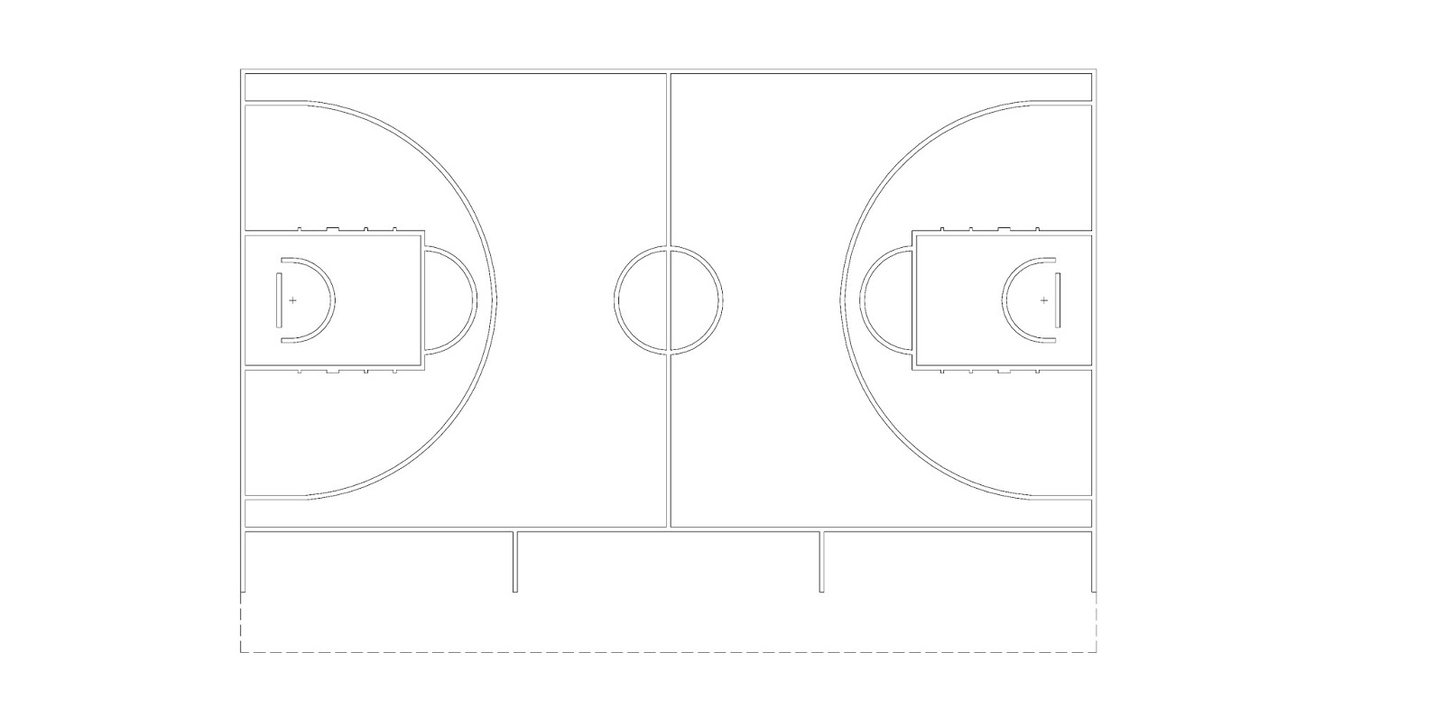 blank diagram of a basketball court
