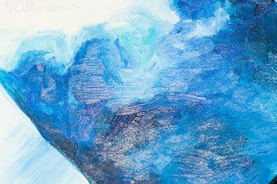 картина маслом макросъемка. Облако, туча, синий, белый.