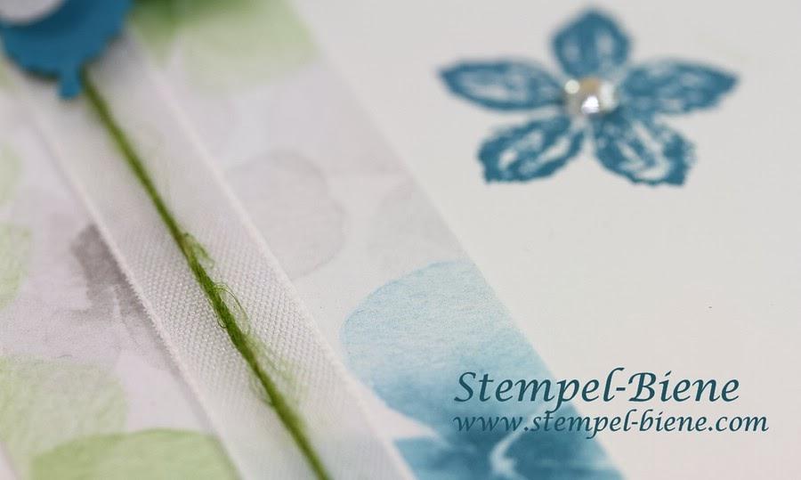 Designerpapier Farbenwunder, Petrol, Flüsterweiß, Petite Petals, Stanze eleganter Schmetterling, Stanze Mini-Schmetterling, Dankeskarte, Stampin up Leinenfaden, Stampin up Nostalgie Pur