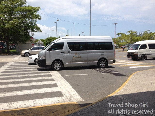 One of the Sandals' shuttles at the airport in Montego Bay