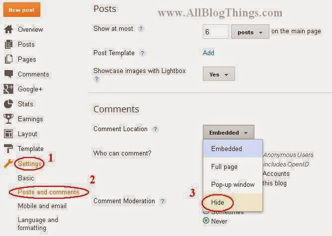 Alternative way to hide commenting from blogger