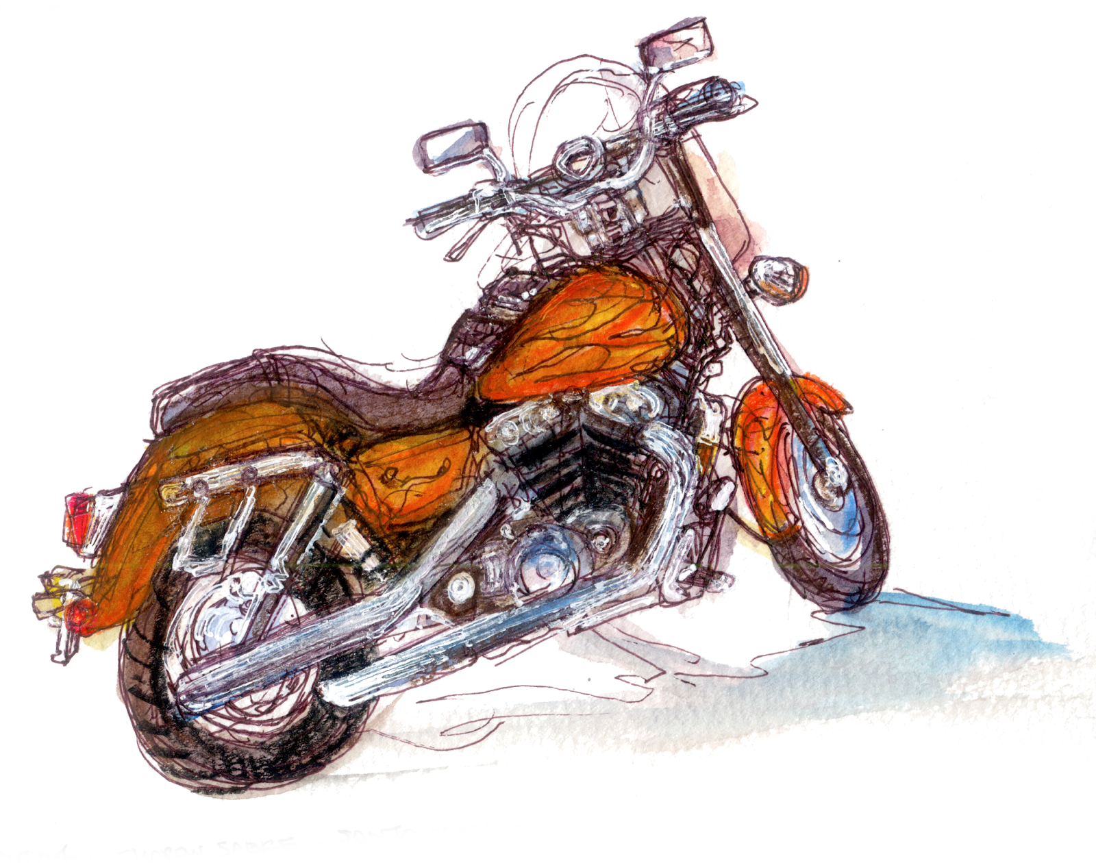 "shiho nakaza motorcycle watercolor sketch ""Los Angeles"""