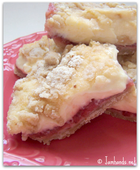 Jam Hands: Strawberry Cheesecake Squares