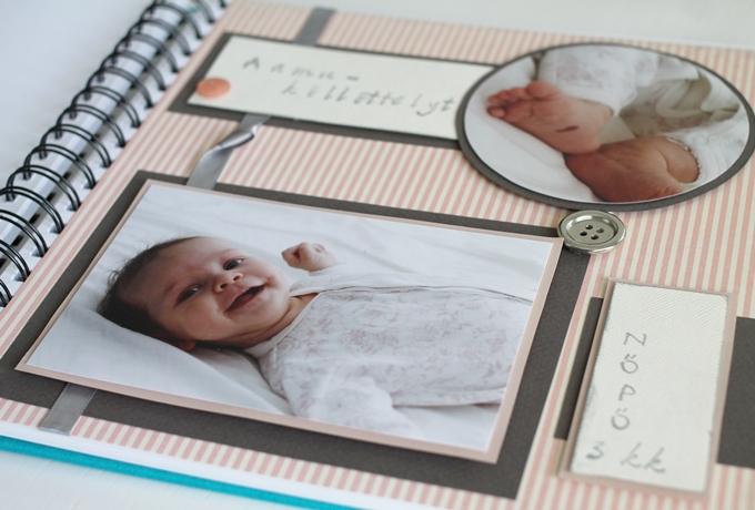 scrapbooking valokuvakirja vauvalle