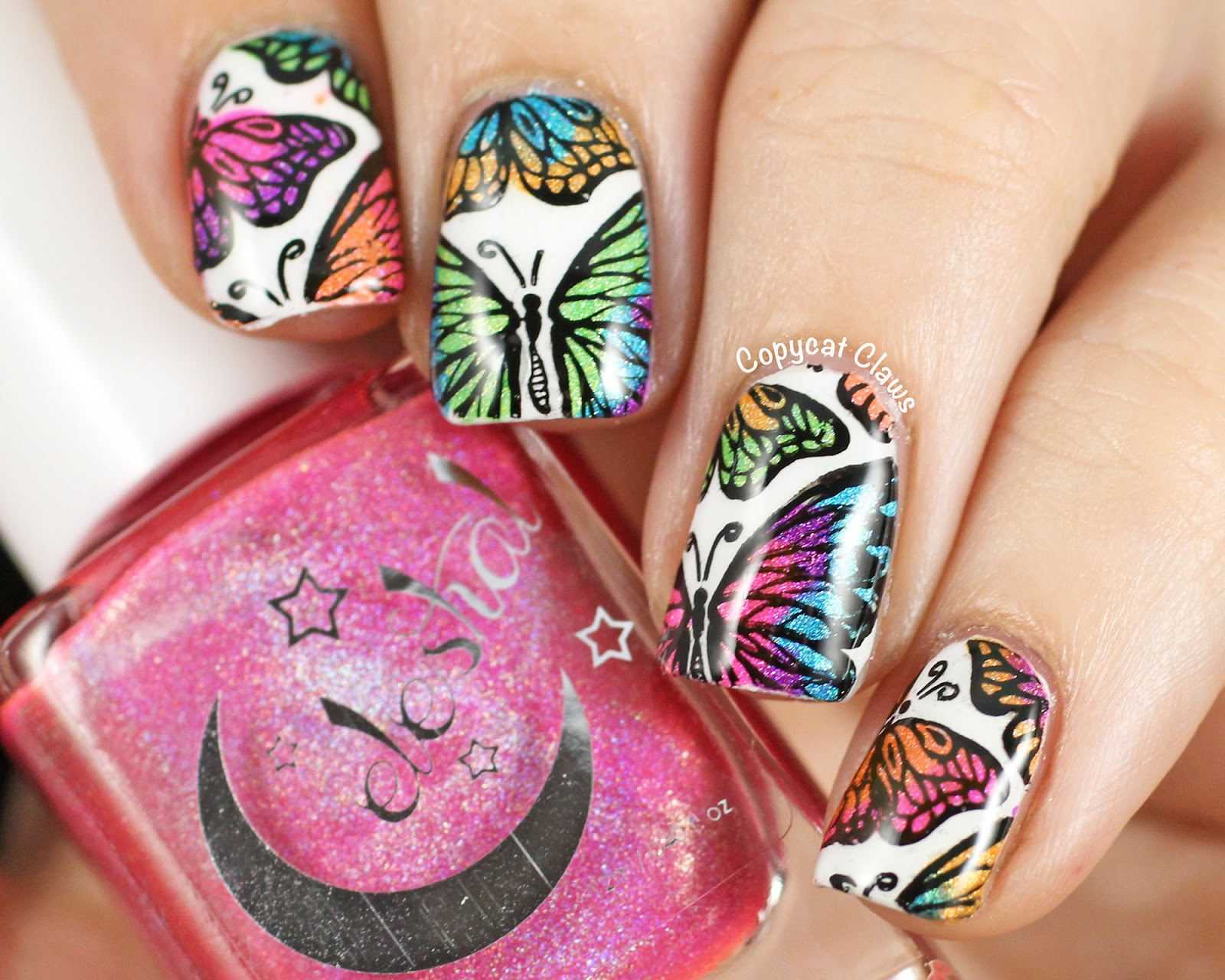 Copycat Claws: Holographic Butterfly Stamping Decals