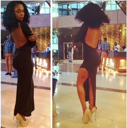 Karen Igho Shows Off Assets in a Dress