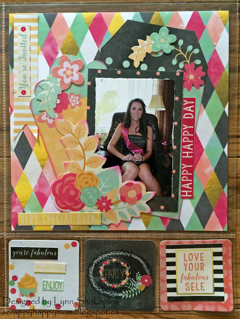 HappyHappy Day Misc.Me layout by Lynn Shokoples for BoBunny featuring the You're Invited Collection