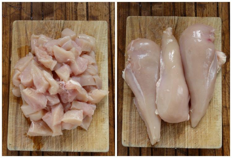 Cortamos las pechugas de pollo