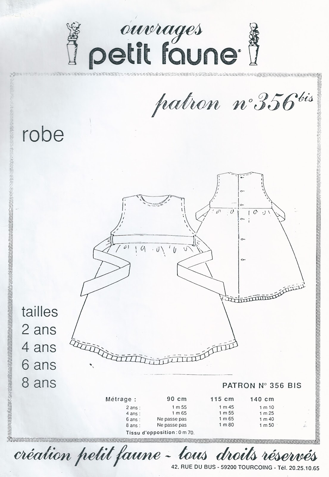 Patron robe tablier 8 ans