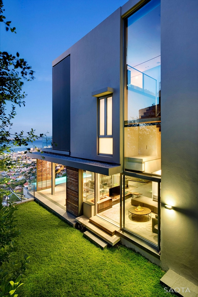 Modern house facade at sunset