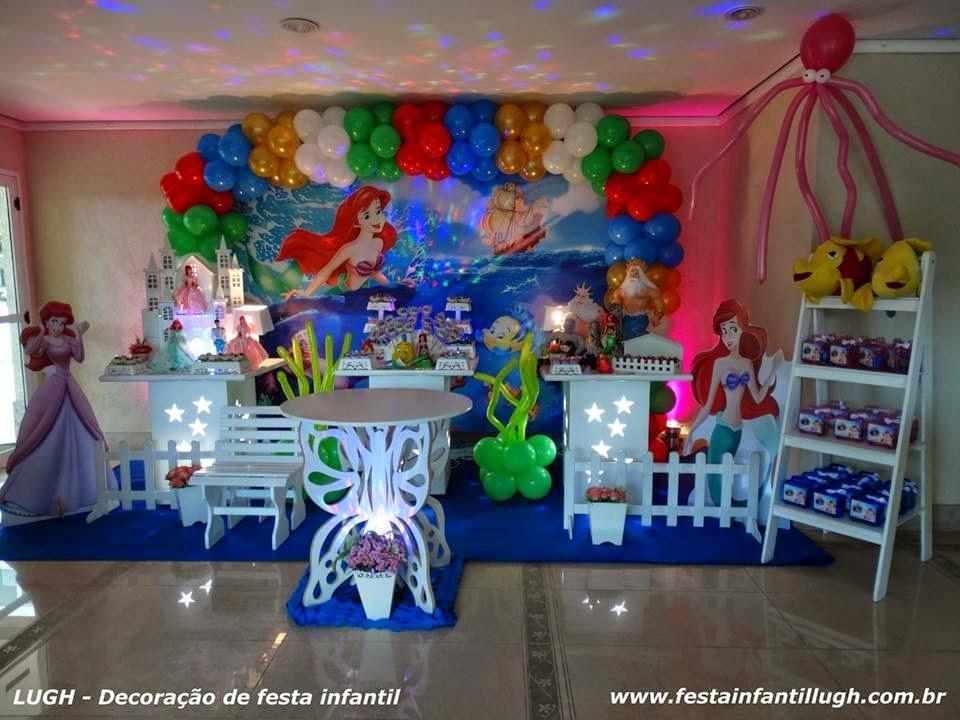 Tema A Pequena Sereia para decoração de festa infantil de meninas