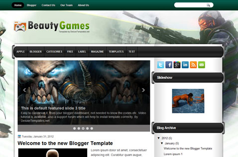 BeautyGames 2 Column Blogger Template