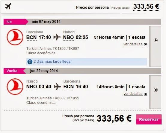 Vuelos desde Barcelona a Nairobi