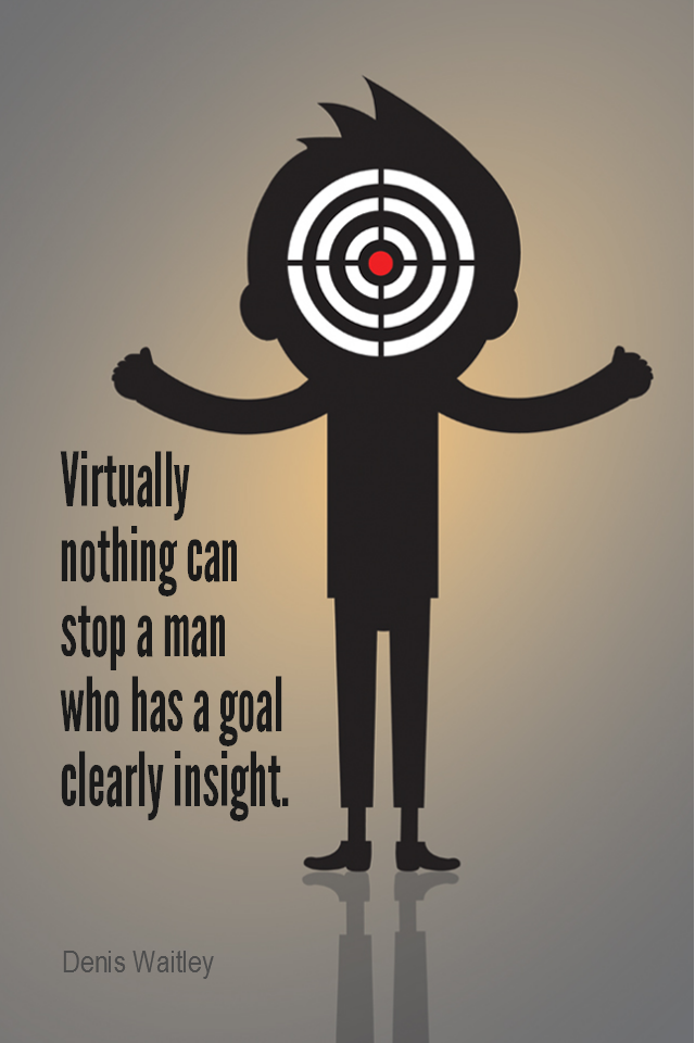 visual quote - image quotation for GOALS - Virtually nothing can stop a man who has a goal clearly in sight. - Denis Waitley