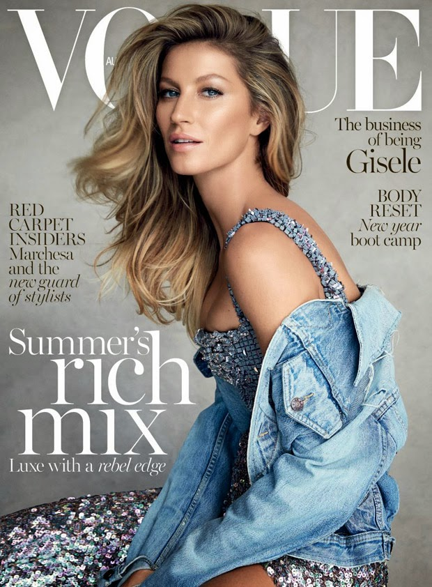 Gisele wears a Chanel Couture dress and a vintage denim jacket for Vogue Australia's January 2015 cover