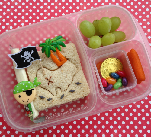 Pirate treasure lunch in EasyLunchboxes by BentOnBetterLunches
