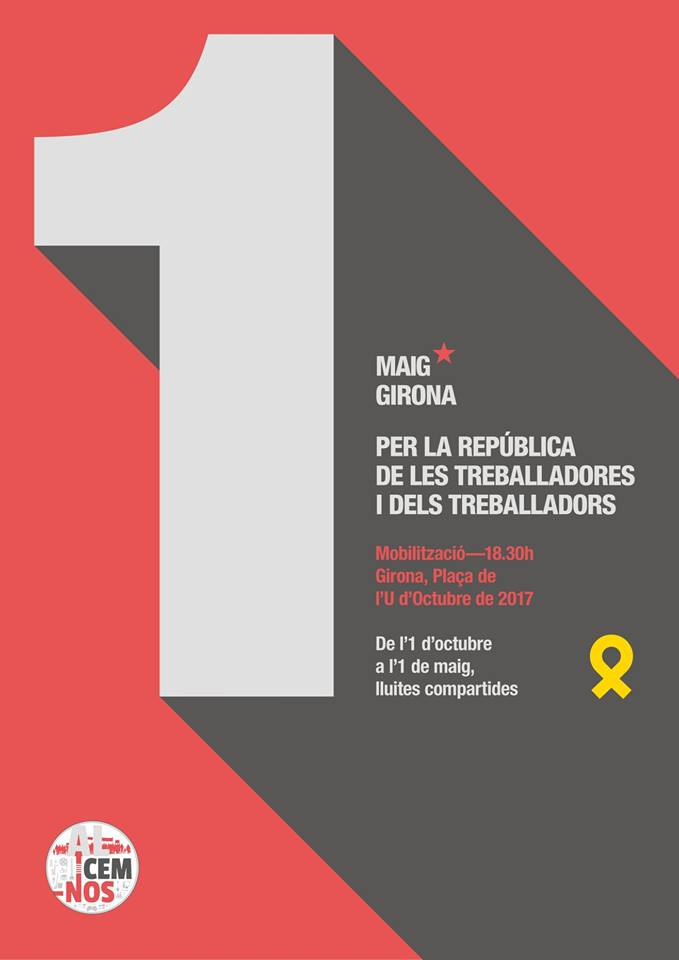 Primer de maig. Girona. 2/4 de 7. Plaça 1 d'Octubre