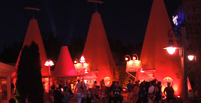 Cozy Cone Motel at Night in Cars Land
